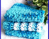 Dishcloths, Set of 3,  Ocean Blues