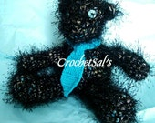 Midnight, Black Fuzzy Crochet Teddy Bear