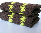Crochet Cotton Dish Cloths, Brown and Green
