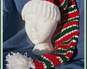 Crochet Stocking Hat, Peppermint Stripes