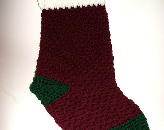 Crocheted Stocking, Burgundy and Forest Green