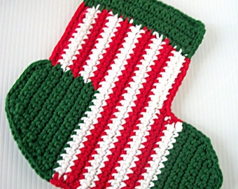 Christmas Stocking Hotpad, Peppermint Stripes