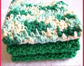 Crocheted Dishcloths, set of 3, Shades of Green