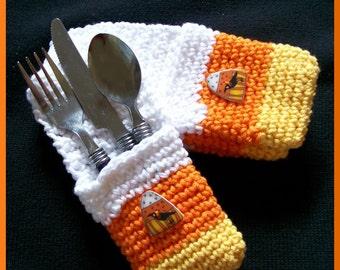 Hallowe'en Crochet Candy Corn Silverware Pockets