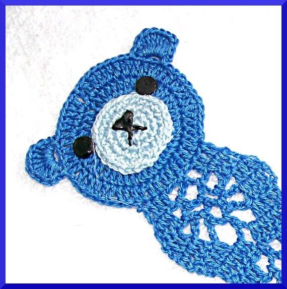 Teddy Bear Bookmark, Blue Pansy, Thread Crochet