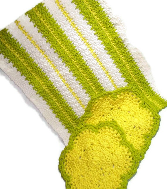 Dishcloth and Hand Towel Set, Sunny Citrus Yellow and Green