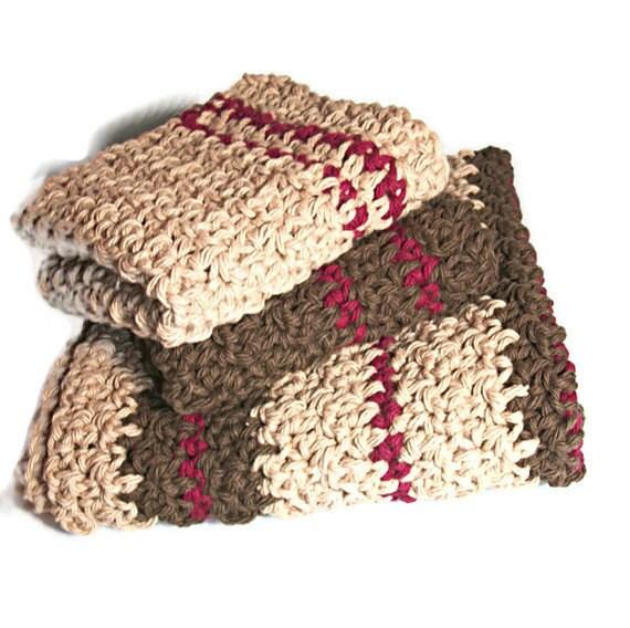 Crochet Dishcloth and Towel Set, Wine and Chocolate