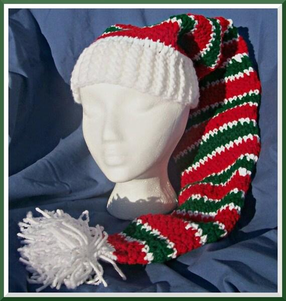 Crochet Stocking Hat, Peppermint Stripes