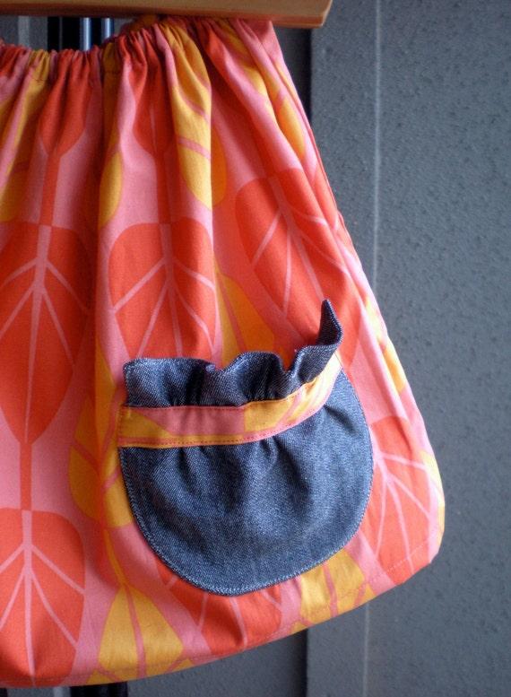 skirt - girls mod orange pink trees - 2T 3T, Spring gift SALE