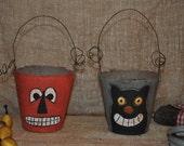 Halloween Handpainted Pumpkin Jack & Cat Cups Rusty Wire Handles