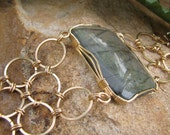 Impressive Peach-Blue Labradorite and Chain Maille Bracelet - Gold Filled