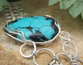 Tibetan Turquoise and Chain Maille Bracelet - Sterling