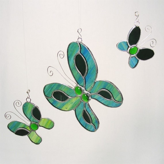 Green Glass Butterfly Trio