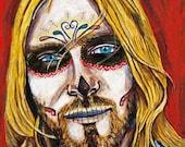 Kurt Cobain day of the dead print
