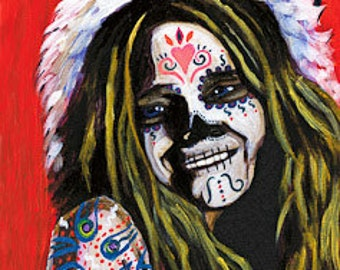 Janis Joplain day of the dead print