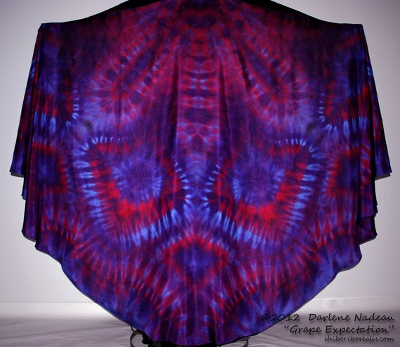 Silk Belly Dance Veil Large Half Circle - GRAPE EXPECTATION by Shibori Borealis