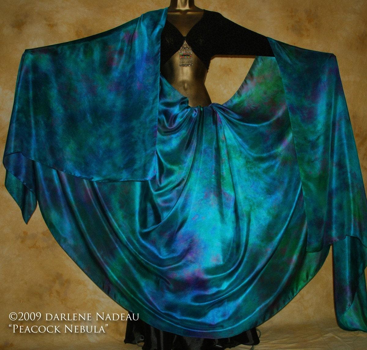 Shibori Borealis Silk Veil Belly Dance 4 Yard Hand Dyed
