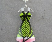 Recycled Vintage Tin Mini Dress Necklace- No. 59 -Retro 60's Leaf