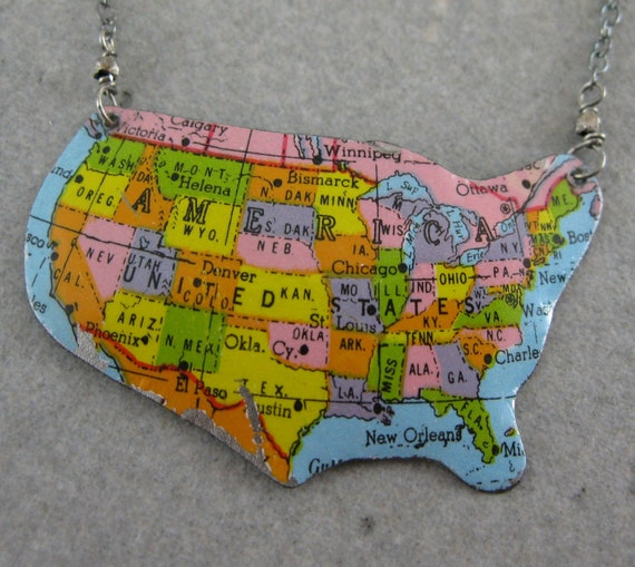Recycled Vintage Tin Necklace-  U.S.A. Map