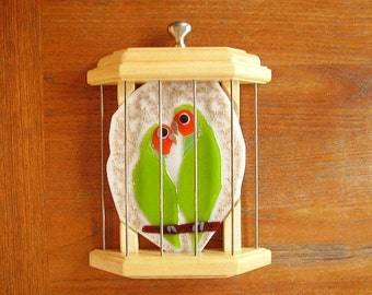 Caged Lovebirds in Glass and Wood