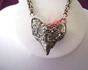 Fine Silver Pirate Bodice Heart Necklace