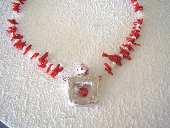 Open Window  Neck Piece of Pearls, Silver and Coral