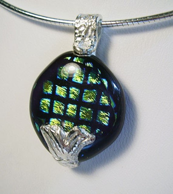 Fine Silver Mermaid Tail and Dichroic Glass Necklace