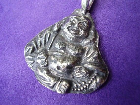 Rustic Silver  Buddha Pendant, Silver Buddha, Buddha Pendant, Happy Buddha Jewelry