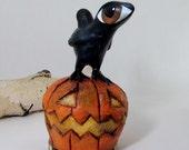 Paper Mache Art Sculpture - Raven atop a Grinning Pumpkin - Big Eyed Bird