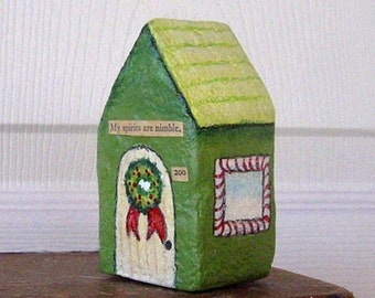 Paper Mache - Chubby Little House Number 200 - My spirits are nimble.