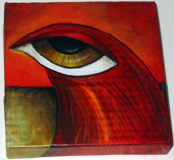Mixed Media Big Eyed Bird Mini Canvas Red