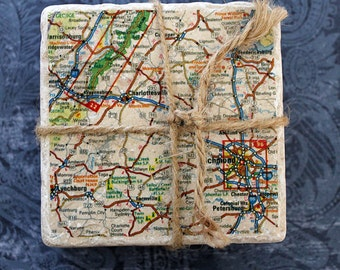 Marble coasters - Charlottesville/Richmond Map