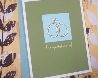 Congratulations ring green single card