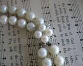 Vintage 2 strand Pearl Rhinestone Choker Necklace