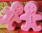 GINGERBREAD Folks  HOT Pink  COUPLE Gift Soaps in Three Butter Special Blend