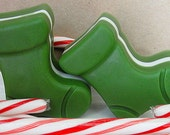 Socks, Stockings in Layered Holiday Scents Two (2) Soaps in GREEN  Or RED--Santa Socks---Christmas Stockings--