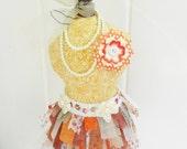OOAK Dress Form Girl Bohemian Boho Orange Yellow Cream Tan Pincushion Decoration Feminine Shabby Chic