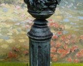 "Dollhouse Fruit Bowl Garden Statue On Grass & Flower Base 1"" Scale"