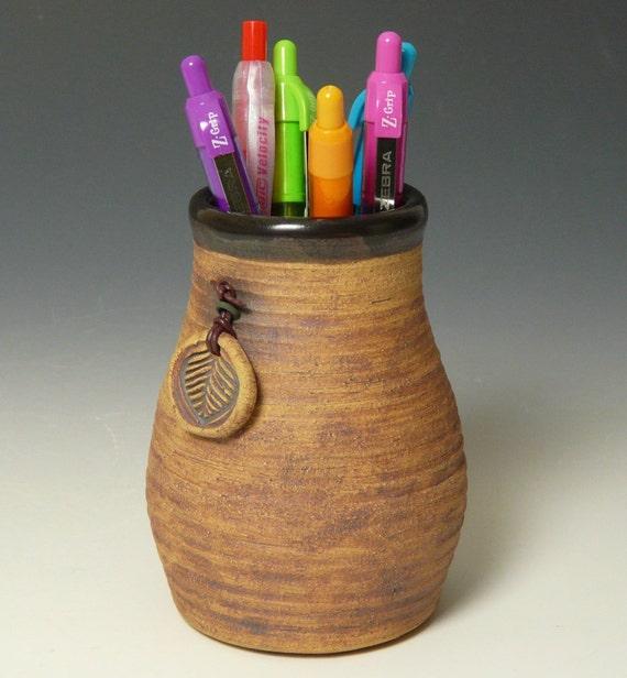 Stoneware Vase with Leaf Pendant