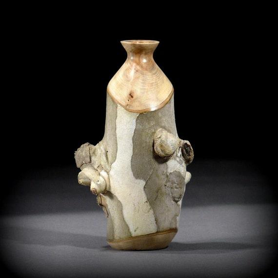 Wood Vase, Sycamore w/ bark and burls (SY35)