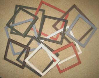 Primitive wood picture frames - assortment of 12 - 6x6's & 8x8's - 6 each - 6 different colors