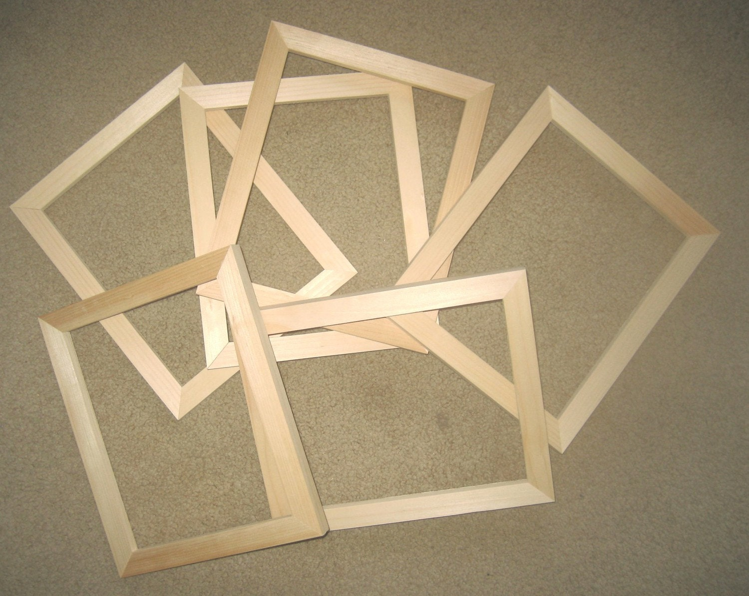6 Unfinished 8x10 Wood Picture Frames Top Quality