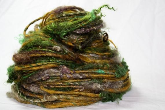 Hand Spun Super Bulky Art Yarn Swamp Monster