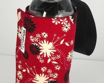 Whats Up Your Sleeve Reversible Insulated Fabric Water Sleeve Red Flowers