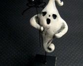 Halloween Folk Art Primitive Ghost with Spooky Spider Pop