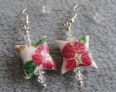 Pink Flower Earrings, Floral,  Hibiscus, Polymer Clay, Beaded Swarovski Crystal, Pierced
