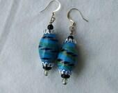Handmade Artisan Earrings, Blue Glass, Chunky, Beaded, Pierced, Southwest Style, Modern Design