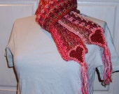 Crochet Valentine Scarf, Heart Smart, Freeform Handmade, Pink Red Coral, Love for Sweetheart