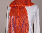 Handmade Crochet Scarf, Field of Orange Poppies, Cobalt Blue Sky, Syracuse, Soft