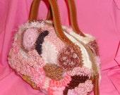 Freeform Crochet Purse, Pink Brown Cream Accessory, Neopolitan Delight Handbag, OOAK Boutique